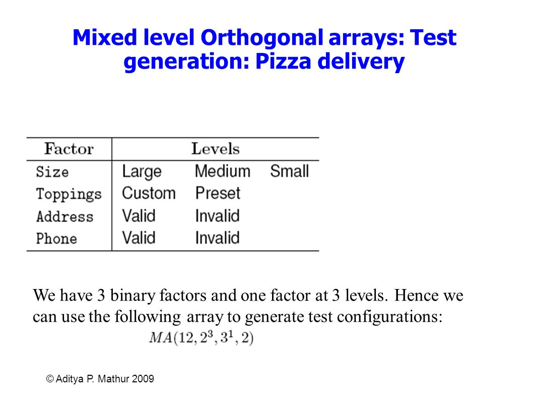 Mixed level Orthogonal arrays: Test generation: Pizza delivery