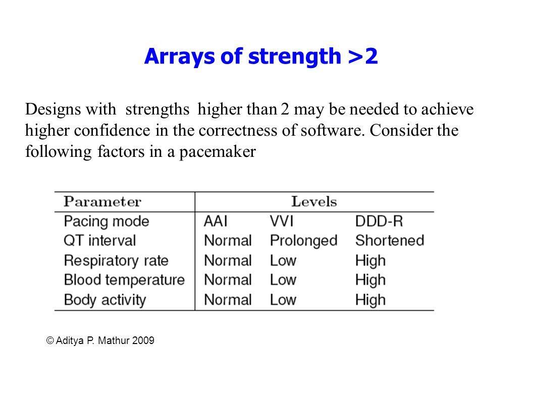 Arrays of strength >2