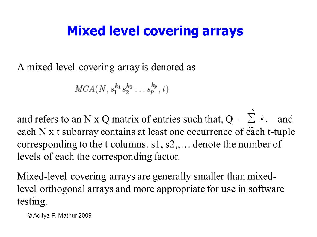 Mixed level covering arrays