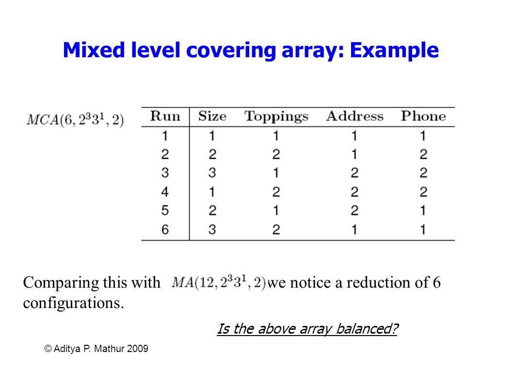 Mixed level covering array: Example