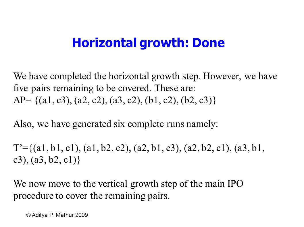 Horizontal growth: Done