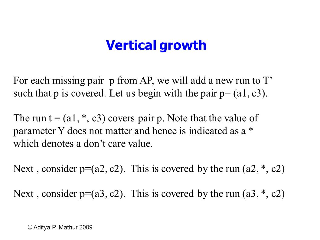 Vertical growth For each missing pair p from AP, we will add a new run to T' such that p is covered. Let us begin with the pair p= (a1, c3).
