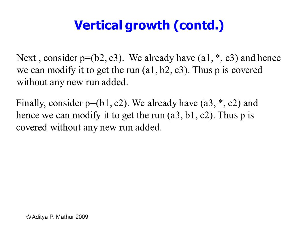 Vertical growth (contd.)