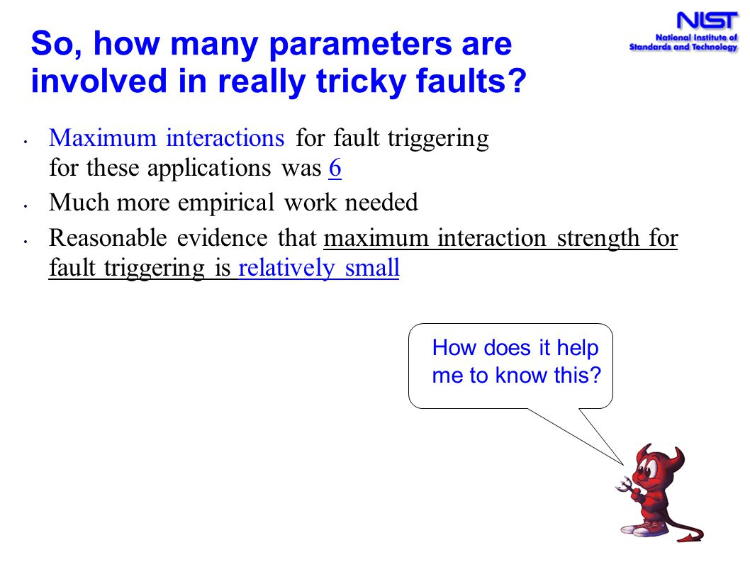 So, how many parameters are involved in really tricky faults