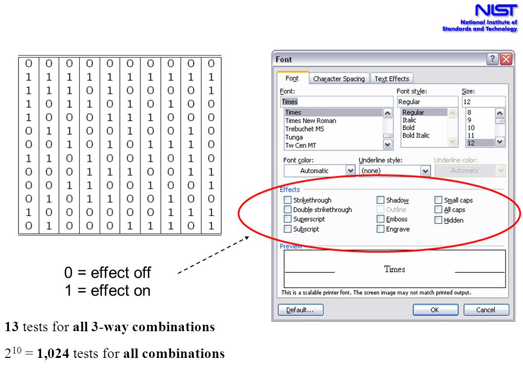 0 = effect off 1 = effect on 13 tests for all 3-way combinations