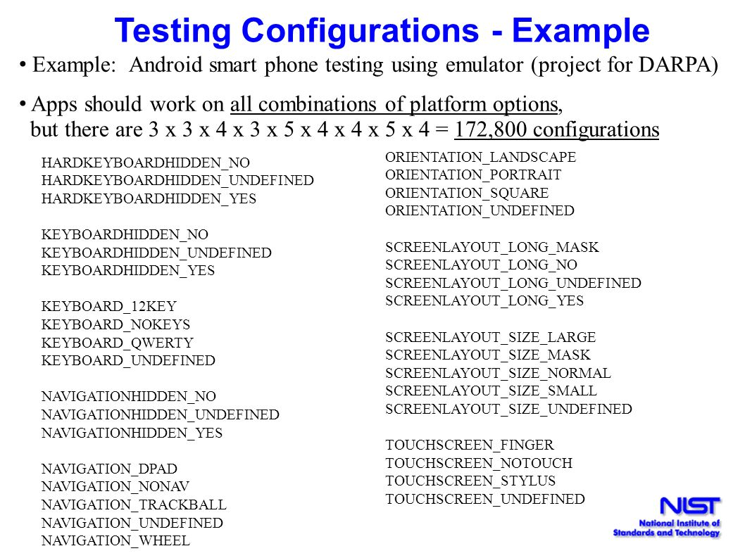 Testing Configurations - Example