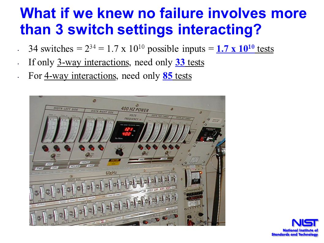 What if we knew no failure involves more than 3 switch settings interacting