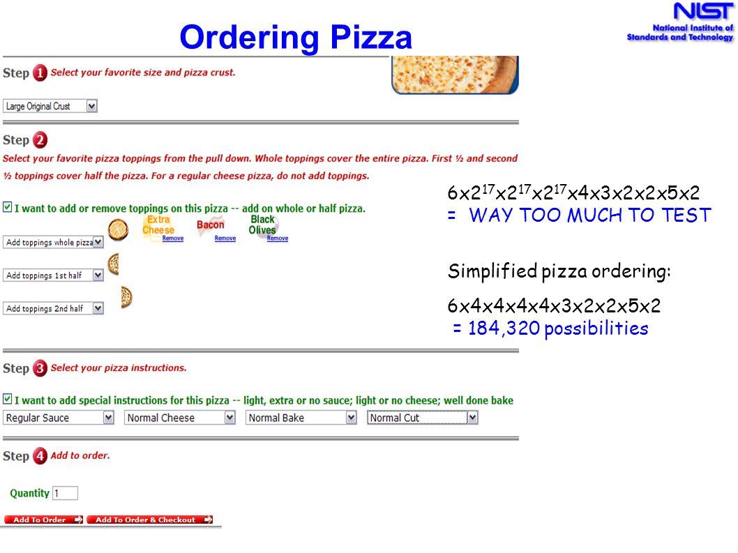Ordering Pizza 6x217x217x217x4x3x2x2x5x2 = WAY TOO MUCH TO TEST