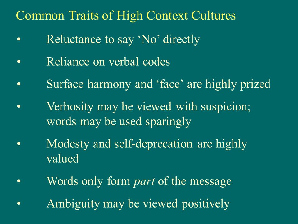 Common Traits of High Context Cultures