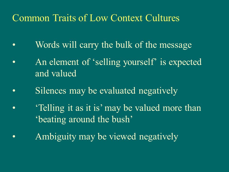 Common Traits of Low Context Cultures