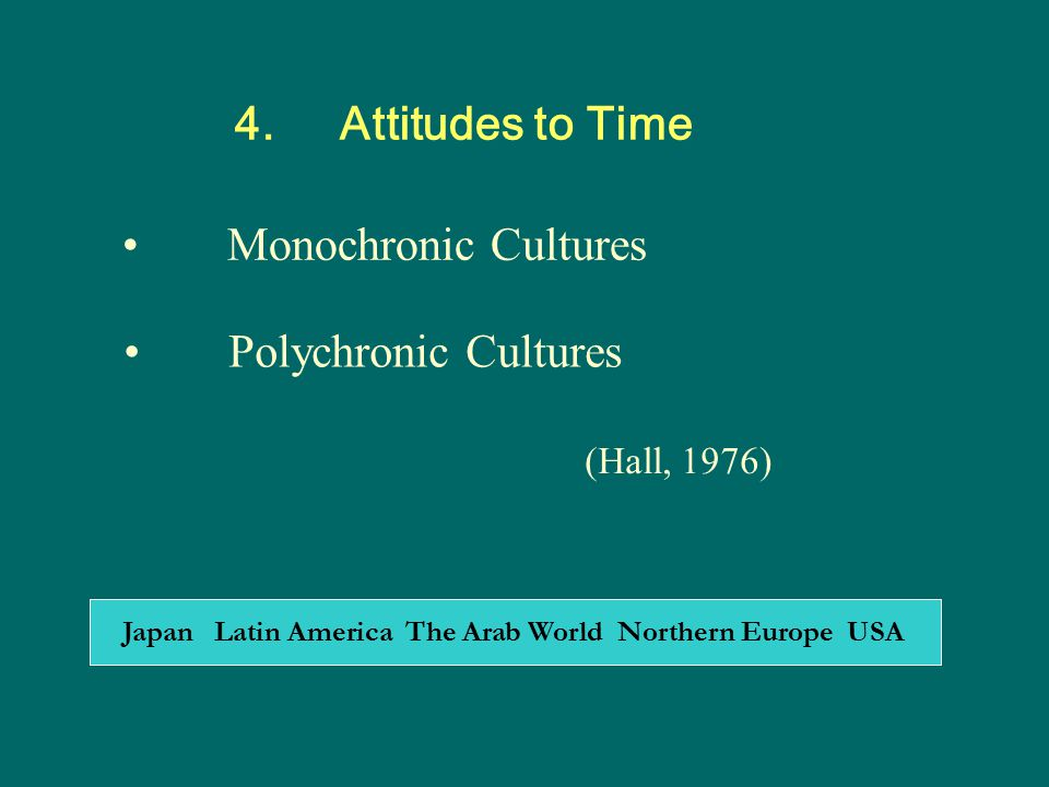 4. Attitudes to Time Monochronic Cultures Polychronic Cultures