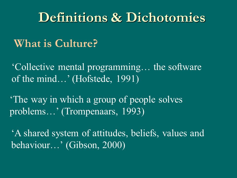 Definitions & Dichotomies