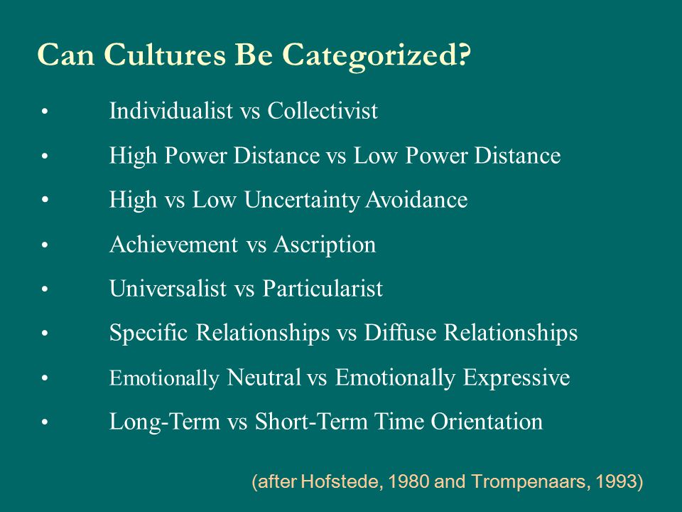 Can Cultures Be Categorized