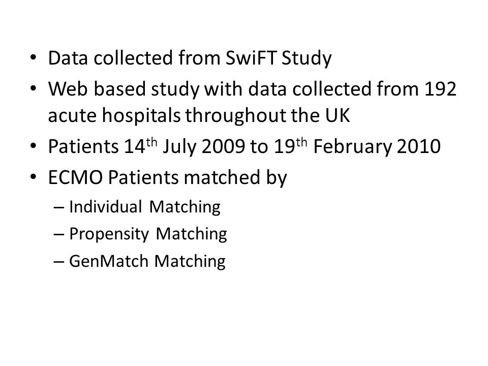 Data collected from SwiFT Study