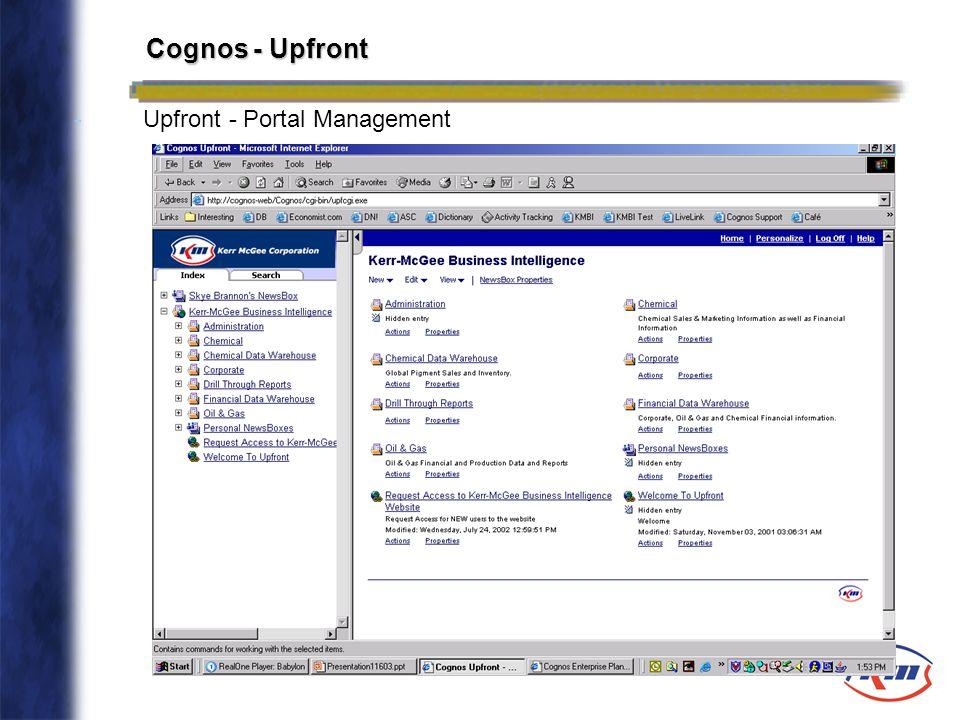 Cognos - Upfront Upfront - Portal Management