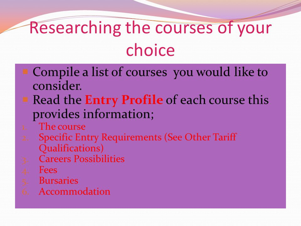 Researching the courses of your choice