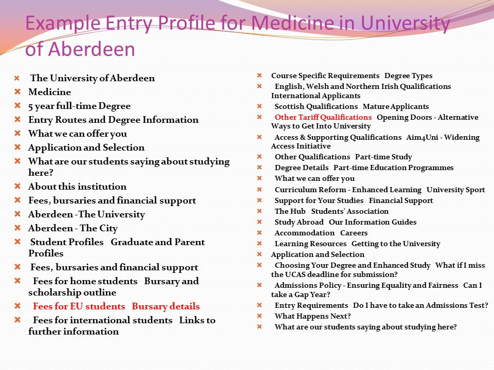 Example Entry Profile for Medicine in University of Aberdeen