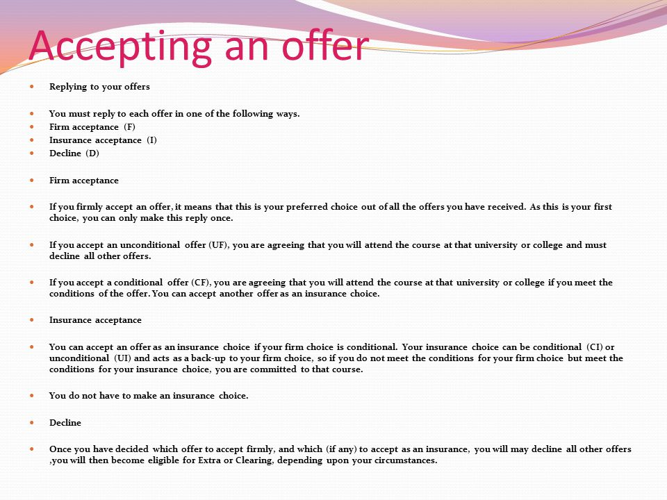 Accepting an offer Replying to your offers
