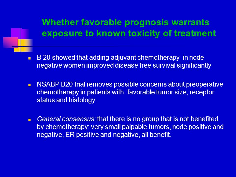 Whether favorable prognosis warrants exposure to known toxicity of treatment