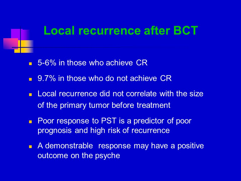 Local recurrence after BCT