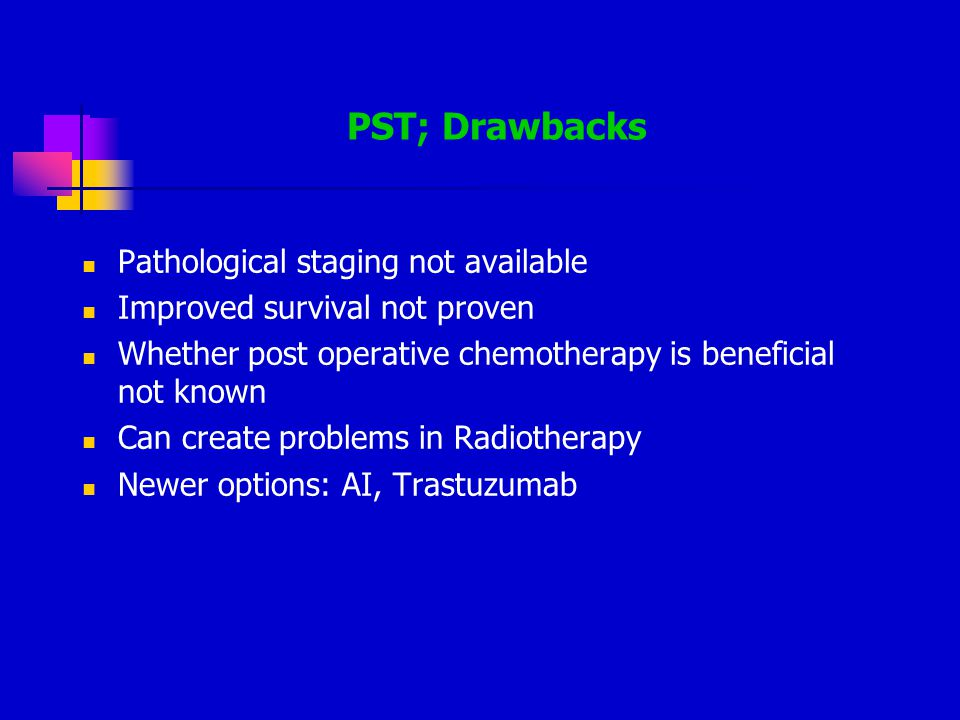 PST; Drawbacks Pathological staging not available