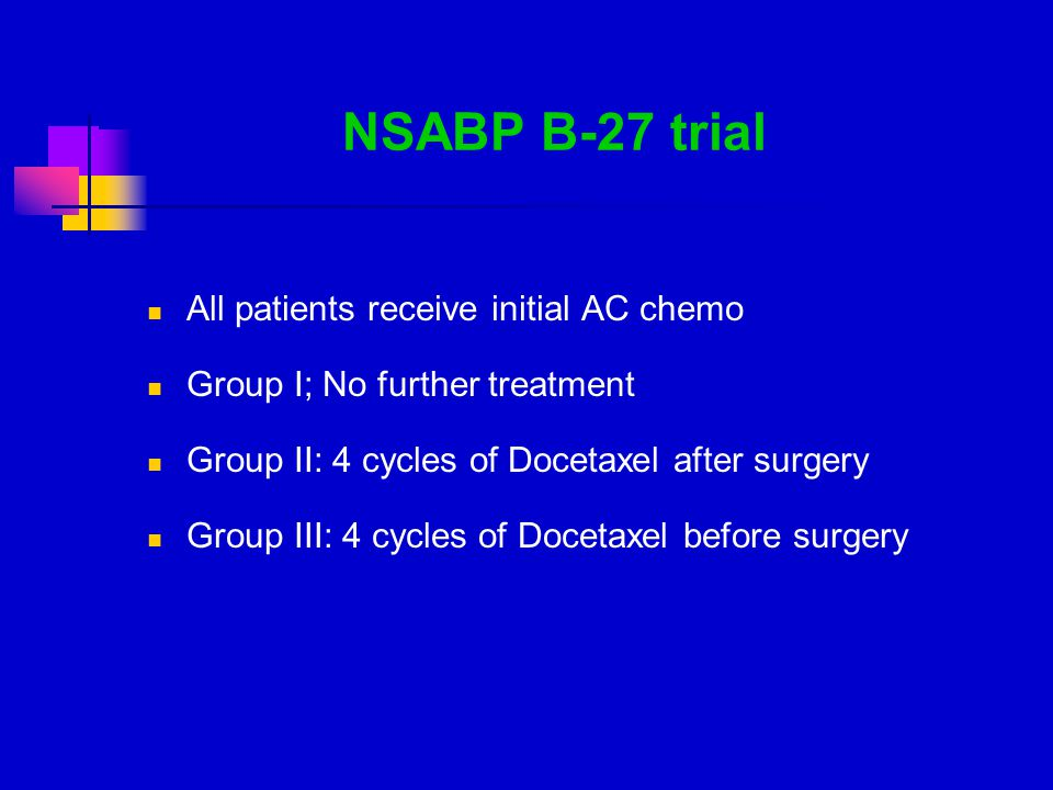 NSABP B-27 trial All patients receive initial AC chemo