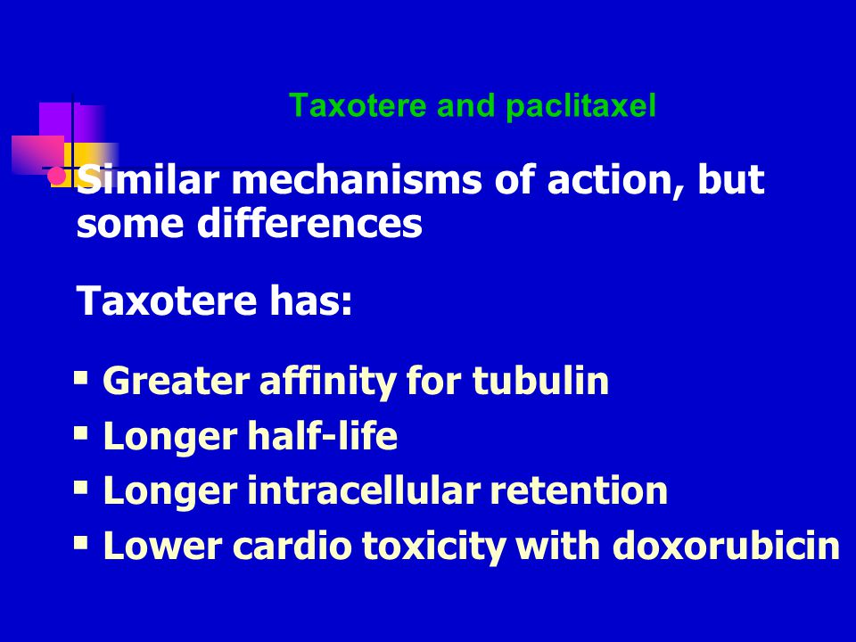 Taxotere and paclitaxel