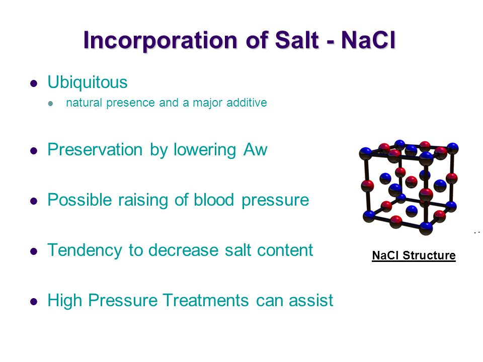 Incorporation of Salt - NaCl
