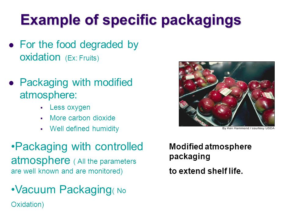 Example of specific packagings