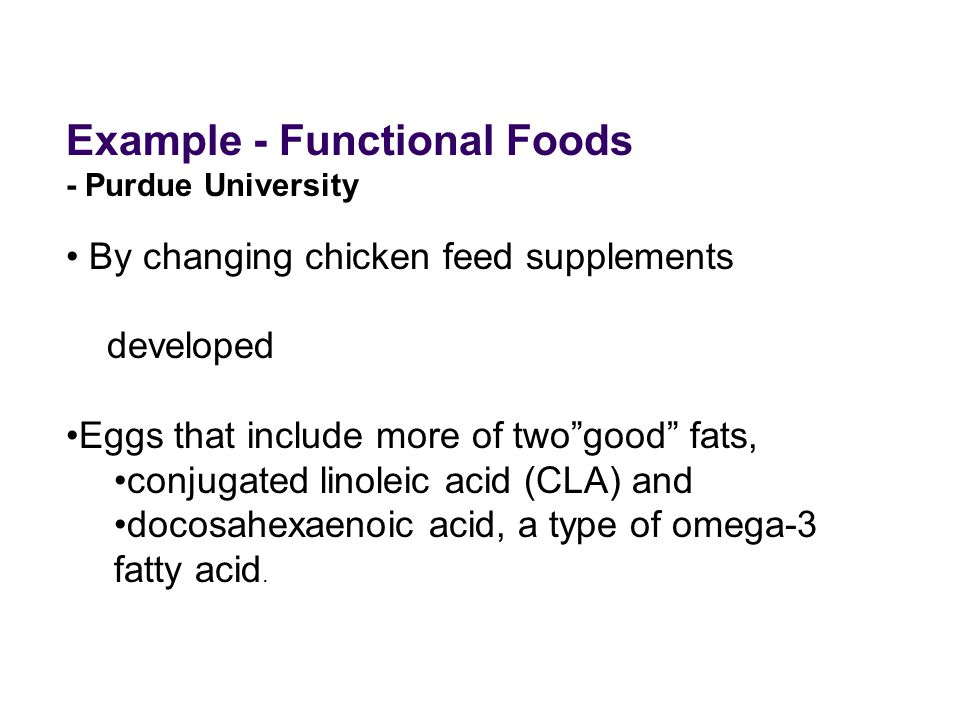 Example - Functional Foods
