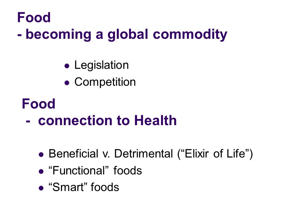 Food - becoming a global commodity