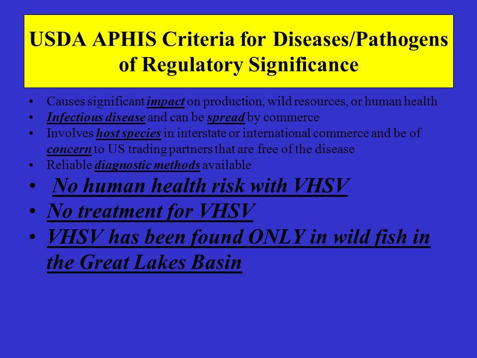 USDA APHIS Criteria for Diseases/Pathogens of Regulatory Significance