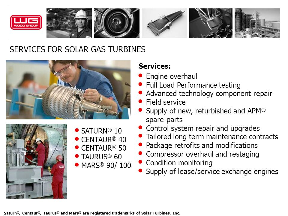 SERVICES FOR SOLAR GAS TURBINES