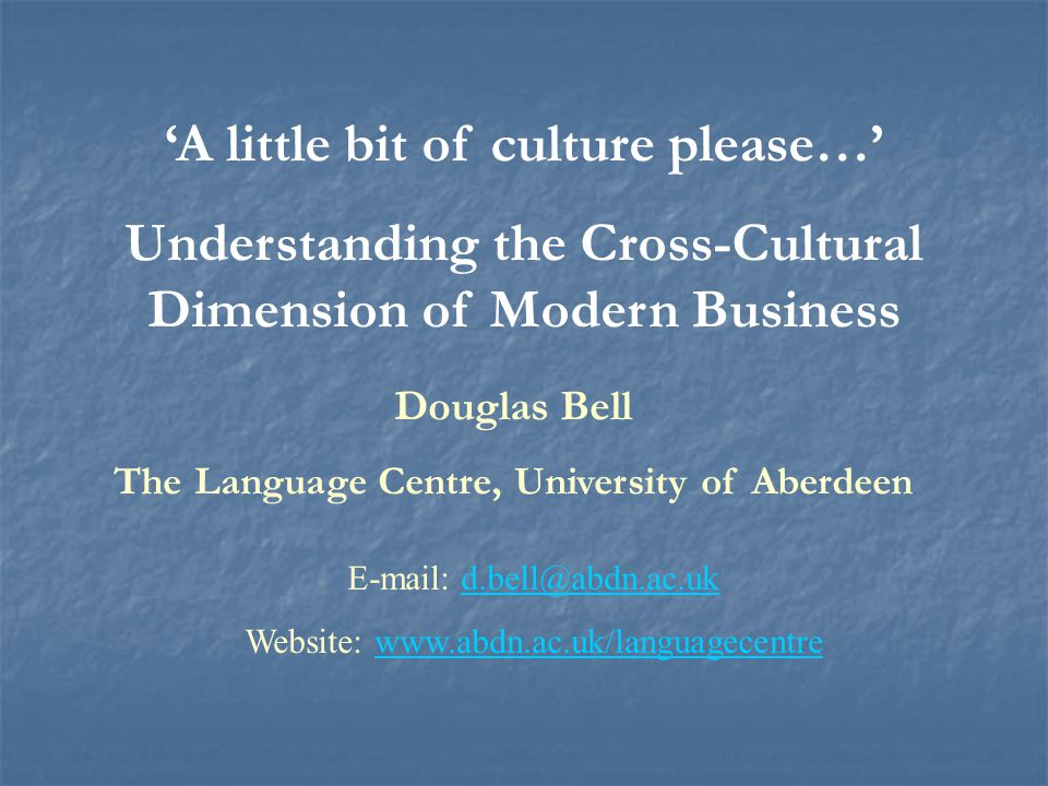 'A little bit of culture please…'