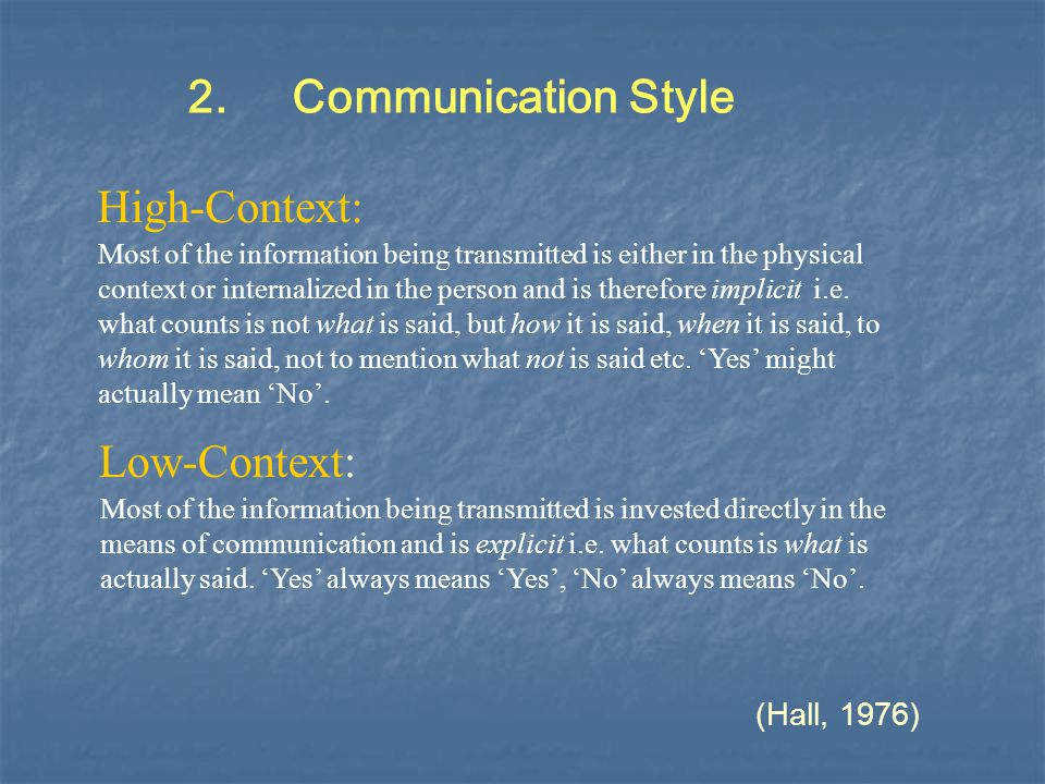 2. Communication Style High-Context: Low-Context: (Hall, 1976)