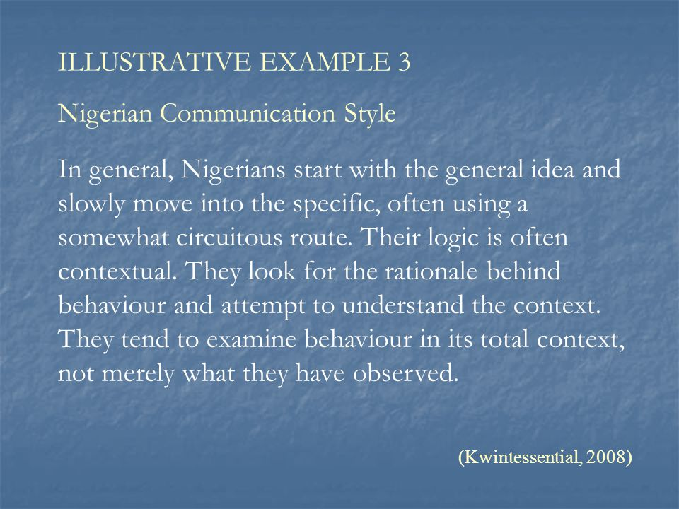 Nigerian Communication Style