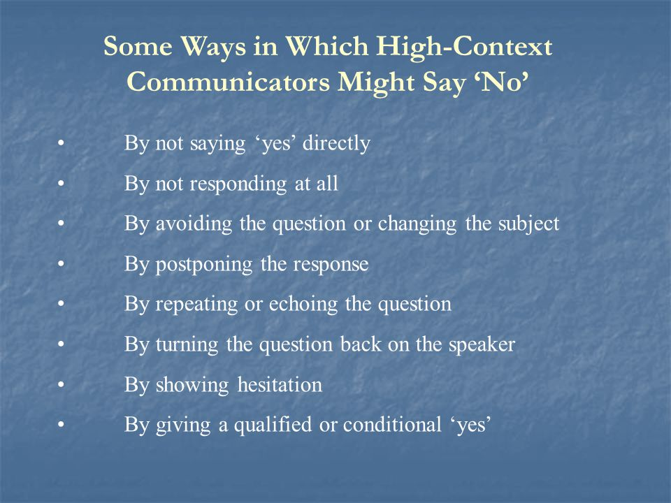 Some Ways in Which High-Context Communicators Might Say 'No'