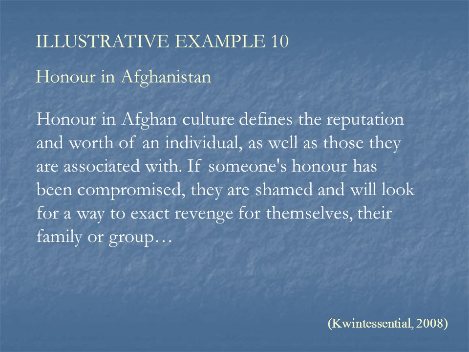 ILLUSTRATIVE EXAMPLE 10 Honour in Afghanistan