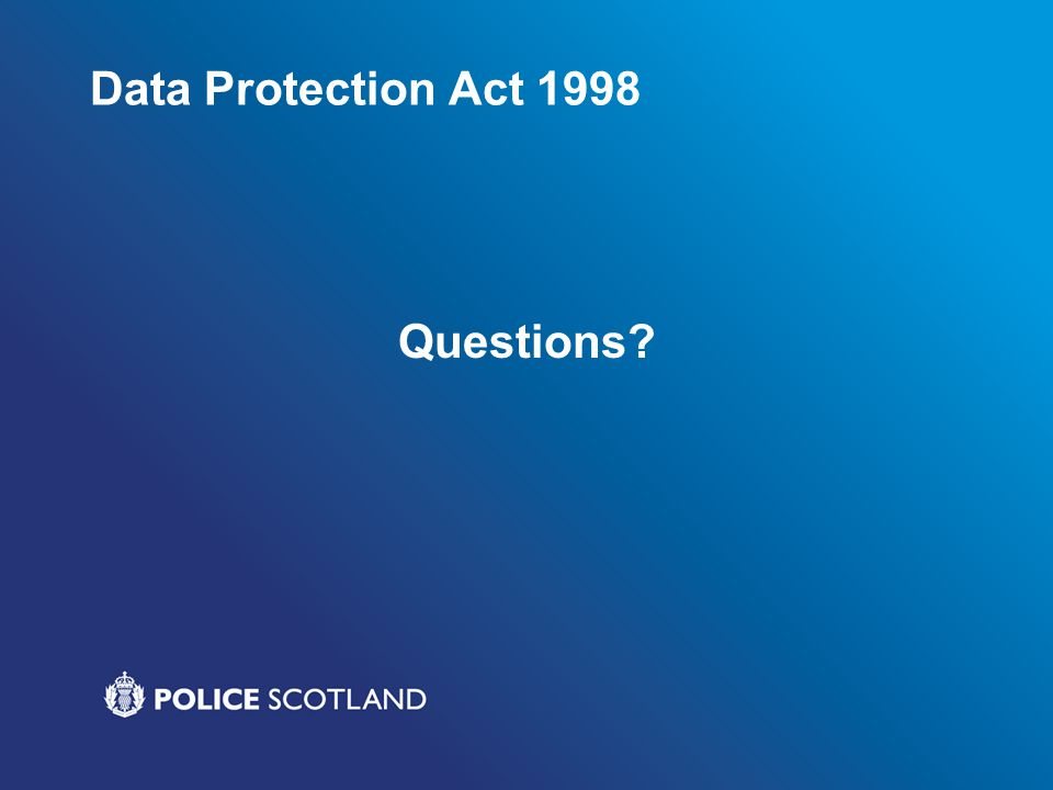 Data Protection Act 1998 Questions