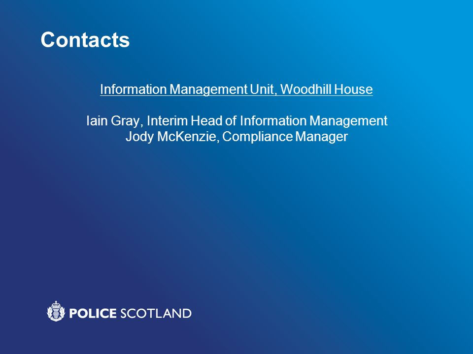 Contacts Information Management Unit, Woodhill House