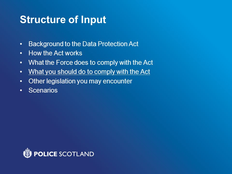Structure of Input Background to the Data Protection Act