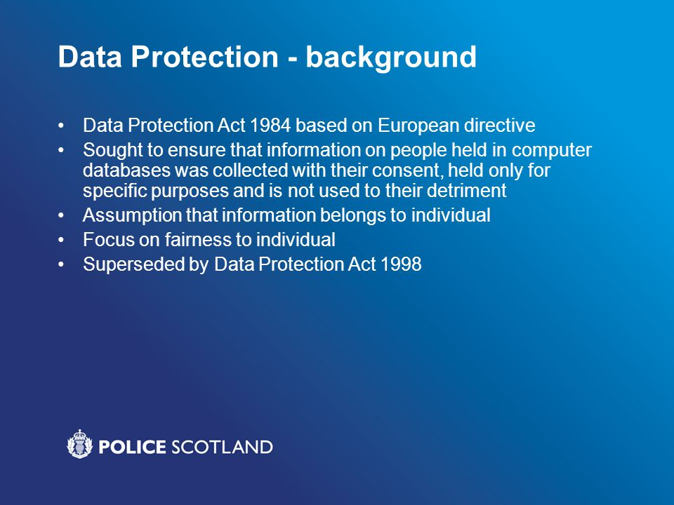 Data Protection - background