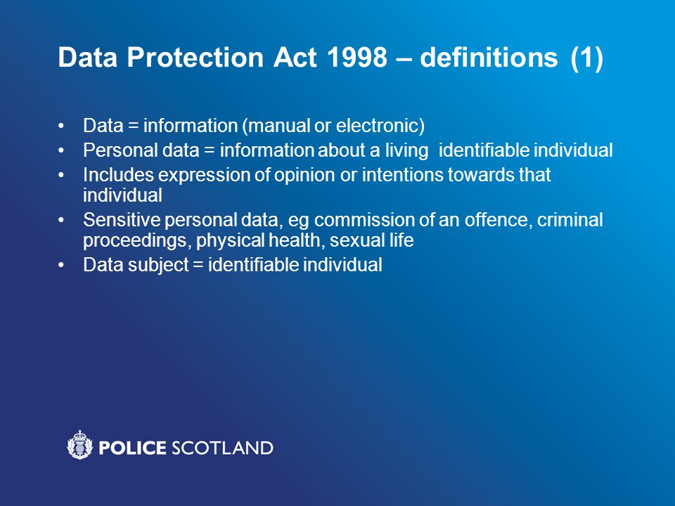 Data Protection Act 1998 – definitions (1)