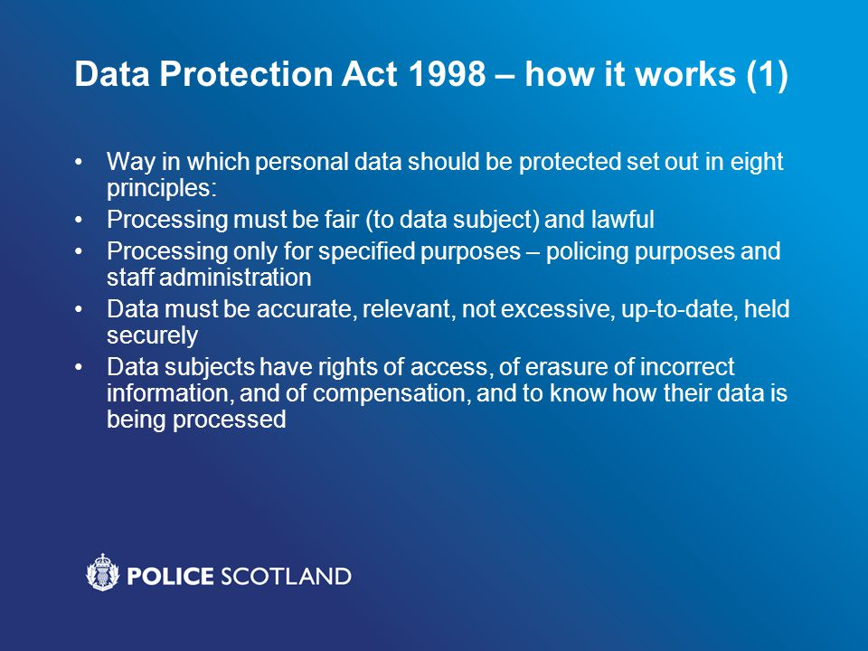 Data Protection Act 1998 – how it works (1)