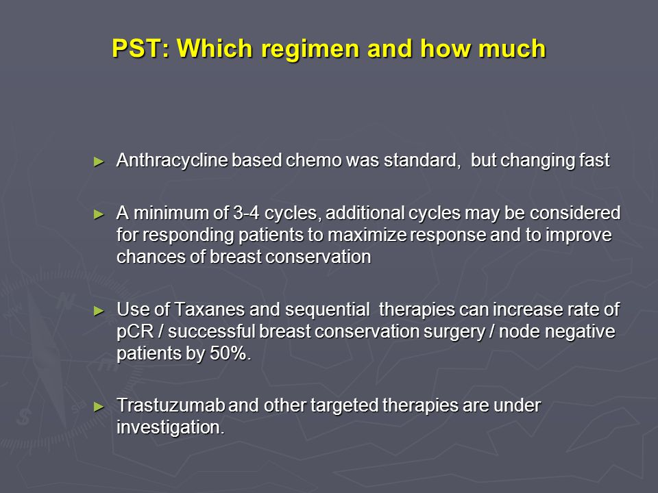 PST: Which regimen and how much