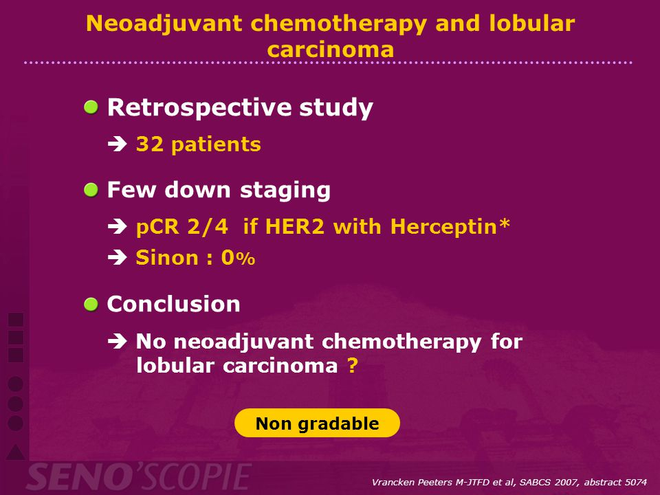 Neoadjuvant chemotherapy and lobular carcinoma