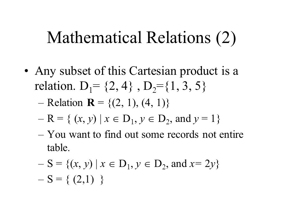 Mathematical Relations (2)