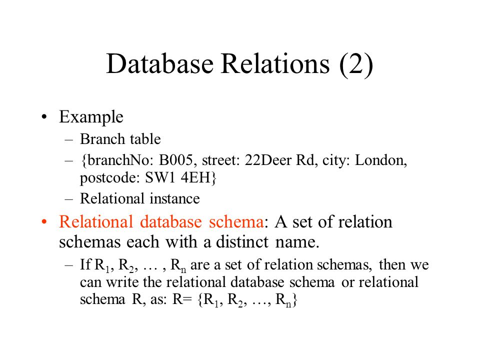 Database Relations (2) Example