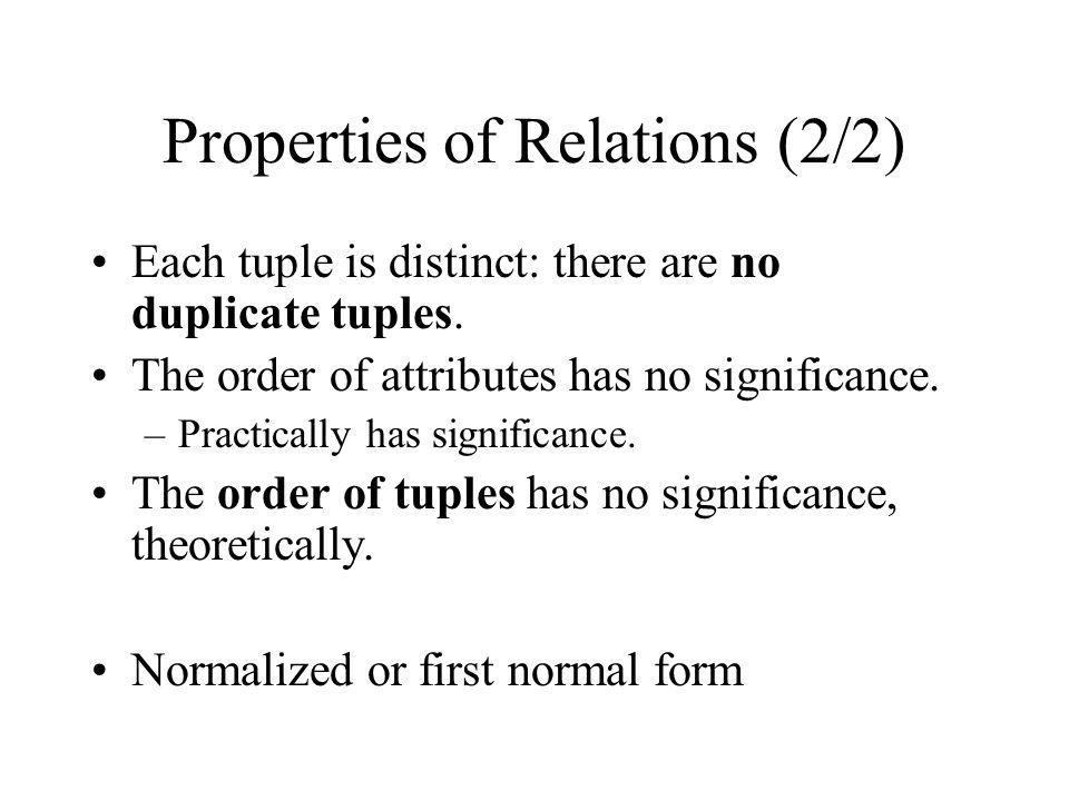 Properties of Relations (2/2)