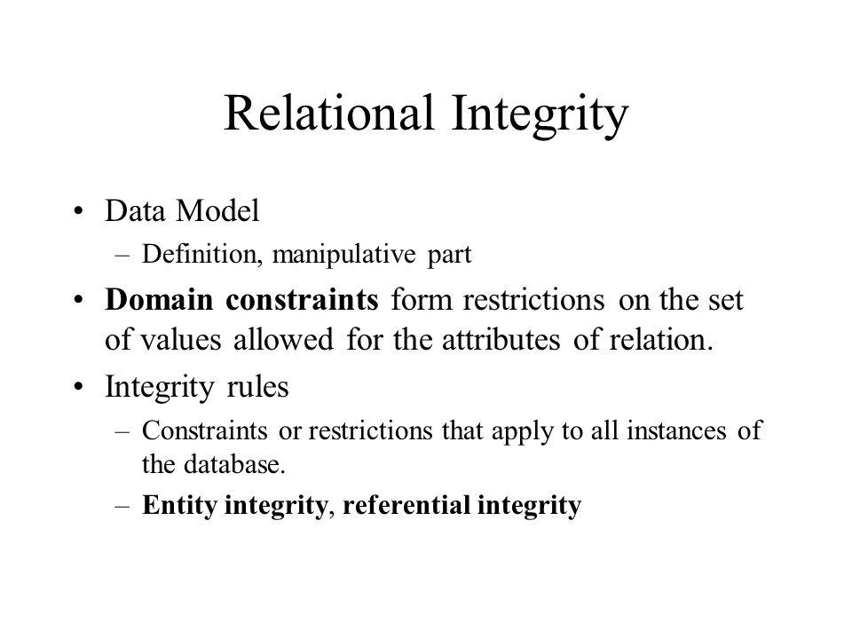 Relational Integrity Data Model